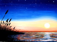 Original art for sale at UGallery.com | Sunset/Star Rise by Patricia Freeman | $425 | acrylic painting | http://www.ugallery.com/acrylic-painting-sunset-star-rise