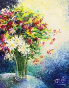 Discover Original Art by Iris Scott | Daisies in a Vase oil painting | Art for Sale Online at UGallery