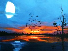 Original art for sale at UGallery.com | Nightfall by Patricia Freeman | $425 | acrylic painting | http://www.ugallery.com/acrylic-painting-nightfall
