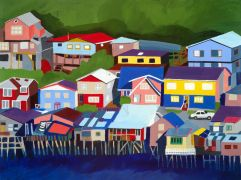 Original art for sale at UGallery.com | Chiloe Island, Chile by Toni Silber-Delerive | $2,625 | acrylic painting | http://www.ugallery.com/acrylic-painting-chiloe-island-chile