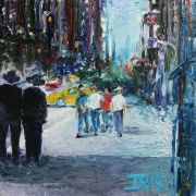 Discover Original Art by Iris Scott | Two Suits and Four Tourists oil painting | Art for Sale Online at UGallery