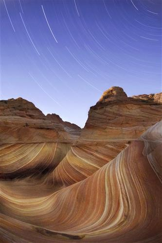 Discover Original Art by Maxwell Koepke | Star Trails Over Desert Wave photography | Art for Sale Online at UGallery
