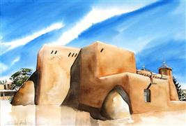 Original art for sale at UGallery.com | San Francisco de Asis Buttresses by Charles Ash | $500 | watercolor painting | http://www.ugallery.com/watercolor-painting-san-francisco-de-asis-buttresses