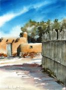 Original art for sale at UGallery.com | Side Street In Santa Fe by Charles Ash | $375 | watercolor painting | http://www.ugallery.com/watercolor-painting-side-street-in-santa-fe