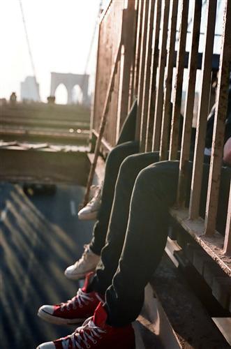 Discover Original Art by Dana Lauren Goldstein | Kids Sitting On Bridge photography | Art for Sale Online at UGallery