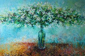 Discover Original Art by Iris Scott | Bursting Bouquet in a Little Bottle oil painting | Art for Sale Online at UGallery