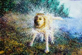 Discover Original Art by Iris Scott | Don't Get Wet! oil painting | Art for Sale Online at UGallery