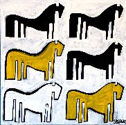 Original art for sale at UGallery.com | Black, Yellow and White Ponies by Jessica JH Roller | $395 | acrylic painting | http://www.ugallery.com/acrylic-painting-black-yellow-and-white-ponies