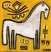 Original art for sale at UGallery.com | White Pony on Yellow by Jessica JH Roller | $355 | acrylic painting | http://www.ugallery.com/acrylic-painting-white-pony-on-yellow