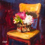 Discover Original Art by Elliot Coatney | Studio Chair with Flowers acrylic painting | Art for Sale Online at UGallery