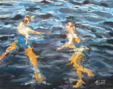 Discover Original Art by Elliot Coatney | Swimming in the Lake acrylic painting | Art for Sale Online at UGallery
