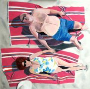 Original art for sale at UGallery.com | Sunbathing on the Beach by Toni Silber-Delerive | $3,675 | oil painting | http://www.ugallery.com/oil-painting-sunbathing-on-the-beach