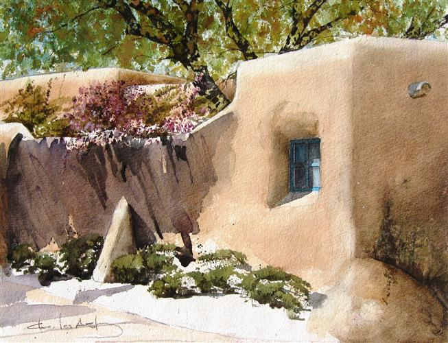 Original art for sale at UGallery.com | Lilacs In Santa Fe by CHARLES ASH | $475 | Watercolor painting | 16' h x 20' w | http://www.ugallery.com/watercolor-painting-lilacs-in-santa-fe