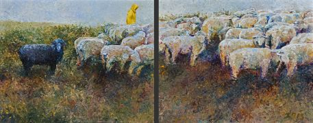 Discover Original Art by Iris Scott | Counting His White Sheep oil painting | Art for Sale Online at UGallery