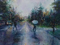 Discover Original Art by Iris Scott | Slippery Crosswalk and a Seattle Stroll oil painting | Art for Sale Online at UGallery