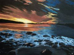 Original art for sale at UGallery.com | Sunset on Lake Hefner, Oklahoma City by Patricia Freeman | $525 | acrylic painting | http://www.ugallery.com/acrylic-painting-sunset-on-lake-hefner-oklahoma-city