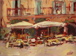 Discover Original Art by Elliot Coatney | Tables and Umbrellas acrylic painting | Art for Sale Online at UGallery