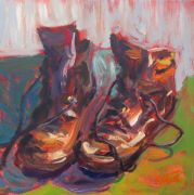 Discover Original Art by Elliot Coatney | Work Boots acrylic painting | Art for Sale Online at UGallery