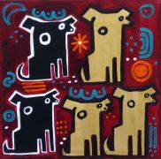 Original art for sale at UGallery.com | Five Dogs by Jessica JH Roller | $275 | acrylic painting | http://www.ugallery.com/acrylic-painting-five-dogs