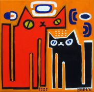 Original art for sale at UGallery.com | Sugarcubes on Popsicle Orange by Jessica JH Roller | $420 | acrylic painting | http://www.ugallery.com/acrylic-painting-sugarcubes-on-popsicle-orange