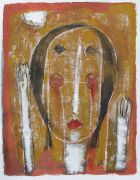 Original art for sale at UGallery.com | Girl with Hands by Scott Bergey | $250 | acrylic painting | http://www.ugallery.com/acrylic-painting-girl-with-hands