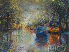Discover Original Art by Iris Scott | Watery Windshield on Rainier Avenue oil painting | Art for Sale Online at UGallery