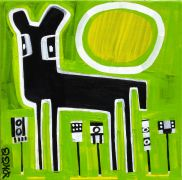 Original art for sale at UGallery.com | Black Deer on Green by Jessica JH Roller | $210 | acrylic painting | http://www.ugallery.com/acrylic-painting-black-deer-on-green