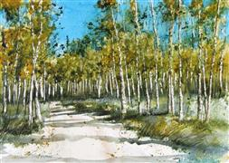 Original art for sale at UGallery.com | Aspen Trail by Charles Ash | $500 | watercolor painting | http://www.ugallery.com/watercolor-painting-aspen-trail