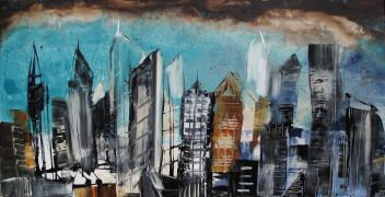 Original art for sale at UGallery.com | Cities 2 by Gloria Blatt | $1,225 | acrylic painting | http://www.ugallery.com/acrylic-painting-cities-2
