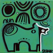 Original art for sale at UGallery.com | Hibernating Bear on Green by Jessica JH Roller | $315 | acrylic painting | http://www.ugallery.com/acrylic-painting-hibernating-bear-on-green