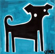 Original art for sale at UGallery.com | Black Dog on Blue by Jessica JH Roller | $250 | acrylic painting | http://www.ugallery.com/acrylic-painting-black-dog-on-blue
