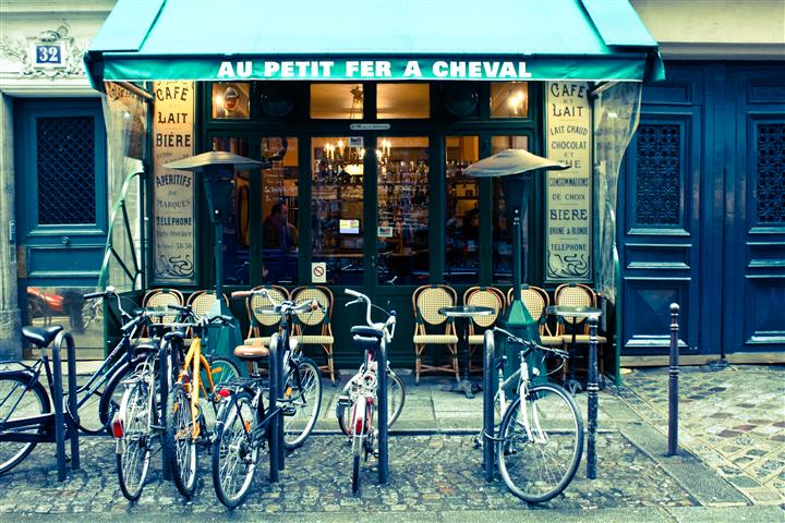 Original art for sale at UGallery.com | Paris Cafe in the Marais by REBECCA PLOTNICK | $195 |  | ' h x ' w | http://www.ugallery.com/photography-paris-cafe-in-the-marais