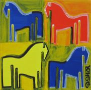Original art for sale at UGallery.com | Four Ponies by Jessica JH Roller | $250 | acrylic painting | http://www.ugallery.com/acrylic-painting-four-ponies