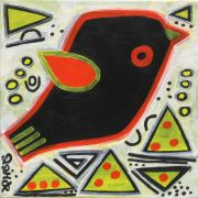 Original art for sale at UGallery.com | red-winged blackbird in springtime  by Jessica JH Roller | $210 | acrylic painting | http://www.ugallery.com/acrylic-painting-red-winged-blackbird-in-springtime