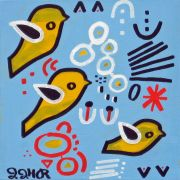 Original art for sale at UGallery.com | Three Birds by Jessica JH Roller | $250 | acrylic painting | http://www.ugallery.com/acrylic-painting-three-birds