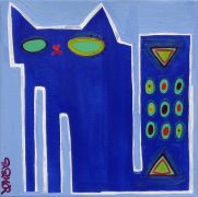 Original art for sale at UGallery.com | blue on blue sugarcube by Jessica JH Roller | $210 | acrylic painting | http://www.ugallery.com/acrylic-painting-blue-on-blue-sugarcube