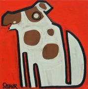 Original art for sale at UGallery.com | Dog on Red by Jessica JH Roller | $250 | acrylic painting | http://www.ugallery.com/acrylic-painting-dog-on-red