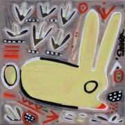 Original art for sale at UGallery.com | Yellow Bunnyloaf by Jessica JH Roller | $210 | acrylic painting | http://www.ugallery.com/acrylic-painting-yellow-bunnyloaf