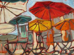 Discover Original Art by Elliot Coatney | Patio Scene Commission acrylic painting | Art for Sale Online at UGallery