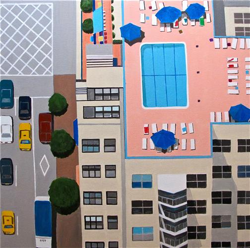 Original art for sale at UGallery.com | NYC Roof Pool by TONI SILBER-DELERIVE | $3,725 | Acrylic painting | 30' h x 30' w | http://www.ugallery.com/acrylic-painting-nyc-swimming-pool