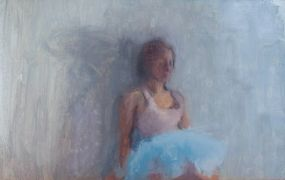 Original art for sale at UGallery.com | Blue Tutu by Sara Sisun | $550 | oil painting | http://www.ugallery.com/oil-painting-blue-tutu