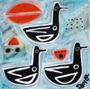 Original art for sale at UGallery.com | Ducks on Lake Superior by Jessica JH Roller | $275 | acrylic painting | http://www.ugallery.com/acrylic-painting-ducks-on-lake-superior