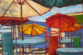 Discover Original Art by Elliot Coatney | Patio Scene (Special Commission) oil painting | Art for Sale Online at UGallery