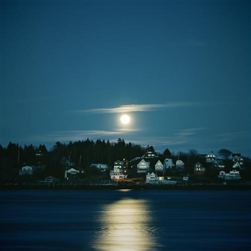 Discover Original Art by Mark Yaggie | Moonrise Over Fishing Village photography | Art for Sale Online at UGallery