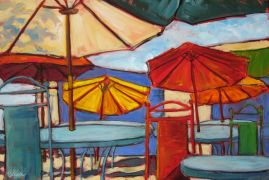Discover Original Art by Elliot Coatney | Colorful Umbrellas acrylic painting | Art for Sale Online at UGallery