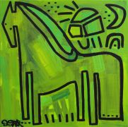 Discover Original Art by Jessica JH Roller | Green Pony acrylic painting | Art for Sale Online at UGallery