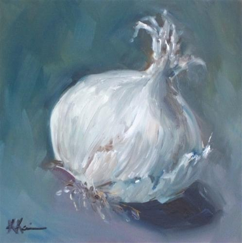 Original art for sale at UGallery.com | White Onion by KRISTINE KAINER | $225 | Oil painting | 6' h x 6' w | http://www.ugallery.com/oil-painting-white-onion