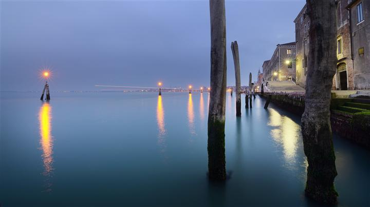 Original art for sale at UGallery.com | Blue Hour in Venice by ETIENNE ROUDAUT | $275 |  | ' h x ' w | http://www.ugallery.com/photography-blue-hour-in-venice
