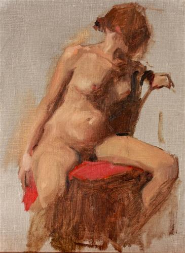 Original art for sale at UGallery.com | Nude with Red by SARA SISUN | $550 | Oil painting | 12' h x 9' w | http://www.ugallery.com/oil-painting-nude-with-red