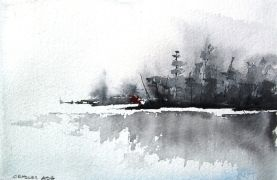 Original art for sale at UGallery.com | Morning Landscape by Charles Ash | $225 | watercolor painting | http://www.ugallery.com/watercolor-painting-morning-landscape
